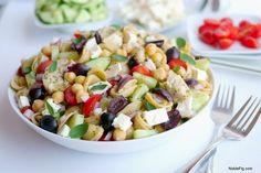 Greek Pasta Salad bursting with flavor (make appropriate THM swaps)