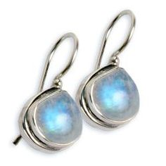 Sterling Silver Rainbow Moonstone Earrings (India)