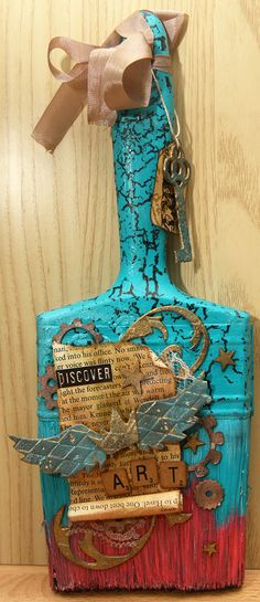 I recently did a swap with a friend that involved altering paintbrushes. I have seen these altered paintbrushes before and thought it looked like so much fun. We set no theme, just whatever we want… Paint Brush Art, Paint Brushes, Altered Canvas, Altered Art, Recycled Art Projects, Junk Art, Altered Bottles, Assemblage Art, Vintage Crafts