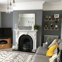 Thank you to the lovely for the tag earlier! Sorry for the delay, I've been so busy at work today interviewing! 1930s House Interior, Interior Design Living Room, Living Room Designs, Living Room Grey, Home Living Room, Living Room Decor, Victorian Living Room, Front Rooms, Lounge Decor