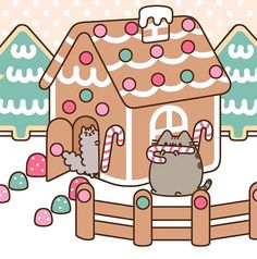 Christmas gingerbread house pusheen