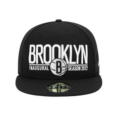 NEW ERA x NBA「Brooklyn Nets Inaugural Season」59Fifty Fitted Baseball... ❤ liked on Polyvore featuring accessories, hats, snapback, fitted baseball hats, snapback baseball caps, fitted hats, brooklyn nets hat and baseball caps
