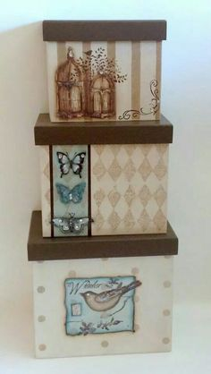 Decoupage Vintage, Decoupage Paper, Home Crafts, Diy And Crafts, Paper Crafts, Diy Craft Projects, Projects To Try, Painted Wooden Boxes, Altered Boxes