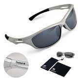 Duduma Polarized Sports Sunglasses Sports Wrap for Running Cycling Fishing Golf Tr90 Unbreakable Frame (silver/black)