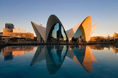Santiago Calatrava - Valence, love how the reflection in the water creates the complete composition
