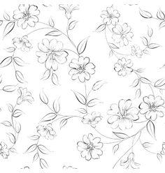 Elegant monochrome flowers fabric vector by Kotkoa on VectorStock®