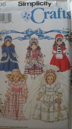 "Lot of 3 Simplicity 18"" Inch Doll Clothes Patterns Historical Southern Belle Bride Victorian + More"