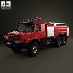 3D model of Mercedes-Benz Zetros Rosenbauer Fire Truck 2008 based on a Real object, created according to the Original dimensions. Available in various 3D formats. Download.