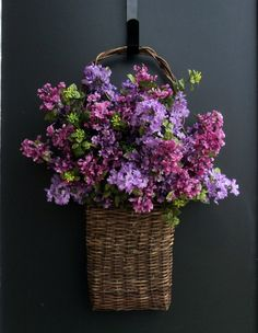 Basket Of Lilacs By Melanieleedesign On Etsy Pretty Front Door Violet Beautiful Flowers