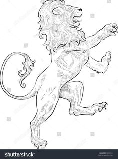 Find Rampant Lion Vector Illustration Rampant Standing stock images in HD and millions of other royalty-free stock photos, illustrations and vectors in the Shutterstock collection. Key Tattoo Designs, Lion Tattoo Design, Lion Design, Design Tattoos, Lion Drawing, Drawing Sketches, Lion Profile, Lion Tigre, Lion Sketch