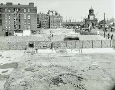 1957 - land begins to be cleared for development around the ornate gates of East India Docks Old London, East London, London Docklands, Tower Hamlets, Irish Catholic, London History, London Street, Historical Pictures, Gates