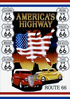 Add retro Route 66 style to your garage with this America's Highway Tin Sign. Made of sturdy metal, this sign features two vintage cars and eight Route 66 signs listing the states the famous route went through. Route 66 Sign, Old Route 66, Route 66 Road Trip, Historic Route 66, Travel Route, Road Trips, Route 66 Theme, Highway Road, Kansas