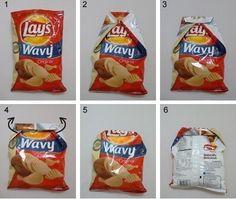 как закрыть пакет с чипсами