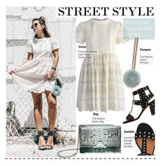Street Style-White Lace Dress+Suede Sandals by kusja on Polyvore featuring polyvore fashion style Chicwish Laurence Dacade StreetStyle lacedress