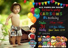 Paw Patrol Invitation. Paw Patrol Party. Paw Patrol Customized Invitation. Paw Patrol. Paw Patrol Birthday