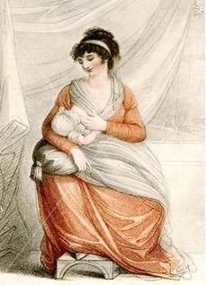 A Regency fashion plate depicting a mother breastfeeding her infant.
