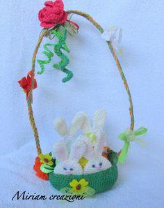 Cestino con coniglietti/ porta ovetti, by vetrina miriam chiocciola, 15,00 € su misshobby.com