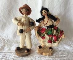 Pair Of 2 Vintage Handmade Folk Art Souvenir Dolls On Wood Stands ~ Venezuela! #Dolls