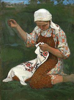 Woman Embroidering ~ Sergei Arsenievich Vinogradov (Russian artist, 1869-1939)