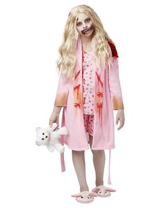The Walking Dead Bunny Slipper Girl Child Costume exclusively at Spirit Halloween - Stagger your way into the party when you wear this officially licensed Walking Dead Bunny Slipper Girl Child Costume. Blood-stained robe comes complete with attached shirt, shorts, slippers and character wig. Add your own teddy bear and makeup to complete the look! Make this zombie yours for $39.99.