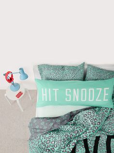 Dorm Room Essentials - Bedding Dorm Accessories from PINK Dream Rooms, Dream Bedroom, Girls Bedroom, Bedroom Decor, Bedroom Ideas, Bedroom Designs, Pink Bedding, Bedding Sets, Leopard Bedding