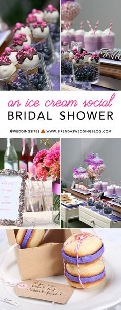 A grown up Ice Cream Social themed bridal shower with a fun ice cream themed dessert table. Includes banana split bites, ice cream shaped sugar  cookies, chocolate covered cherries, ice cream cone cake  pops, strawberry milkshakes, a custom ice cream carton cake {which I am in total awe of}, strawberry cream chocolate covered Oreo's, and candy jars - as seen on www.BrendasWeddingBlog.com