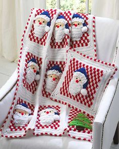 Picture of Santa Afghan Wall Hanging and Pillow Crochet Pattern
