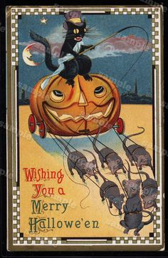 Vintage Post Card Halloween Post card  c1910 by Printvilla4you
