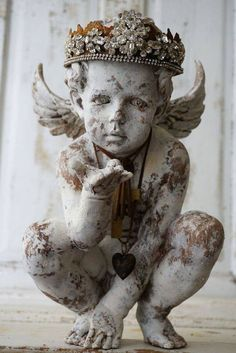 Your place to buy and sell all things handmade Ornate cherub statue elegant rhinestone crown shabby cottage chic distressed painted angel handmade embellishments decor anita spero design Shabby Chic Cottage, Shabby Chic Homes, Shabby Chic Decor, Romantic Cottage, Cozy Cottage, Statue Ange, Angel Statues, Buddha Statues, Stone Statues