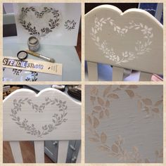 A leaf heart stencil creates a simple Nordic look to any country chair ... Like these all painted in different colours of Autentico Chalk Paint