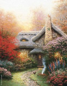 "On this beautiful Autumn Saturday, we look back at one of Thomas Kinkade's classic paintings, ""Autumn at Ashley's Cottage"". In this painting Thom painted tribute to one of his favorite Fall memories as a boy. #thomaskinkade #autumn #art"