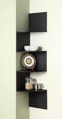 I like this idea as a small corner shelf idea.
