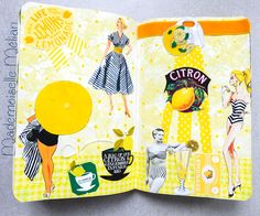 Wreck this journal - Saccage ce carnetPage 104-105 : make prints using an ink pad and cut vegetables50′s lemon theme - Citronnade des années 50, inspiration vintage ;page parfumée citron - lemon scented page