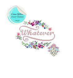 Whatever. Modern Floral Cross Stitch par plasticlittlecovers