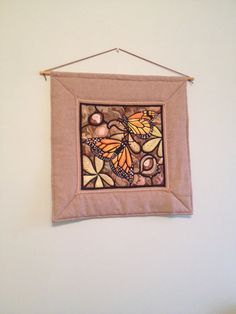 Monarch Butterflies Autumn quilted wall by ElementalTextiles