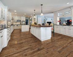 Marazzi USA Porcelain Wood Tile - kitchen tile - dallas - by Marazzi USA Wood Tile Kitchen, Wood Tile Floors, Wood Look Tile, White Kitchen Cabinets, Kitchen Flooring, New Kitchen, Kitchen Island, Awesome Kitchen, Hardwood Floors
