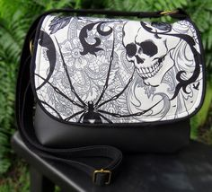 Black and White Goth Skull and Black Widow Spider by CanaryCreated