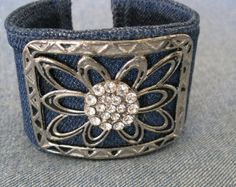 Denim Cuff Bracelet with Antique Silver and от JoyceJanson
