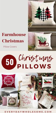 50 Throw Pillows & Covers for Winter or Christmas Xmas, holiday ideas for couch, some to make DIY