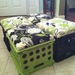 No link to tutorial, but cute idea for kid's room seating plus storage