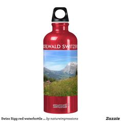 Swiss Sigg red waterbottle Grindelwald Switzerland Aluminum Water Bottle. #switzerland #swiss #souvenirs #gifts #travel