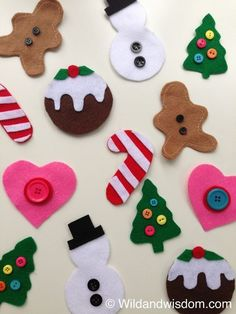 How to make these felt Christmas crafts.Why should the grown ups have all the fun decorating the Christmastree! Instead of standing guard at the foot of your preciously adorned tree, diving to catch falling glass baubles while your toddl… Diy Felt Christmas Tree, Preschool Christmas, Toddler Christmas, Christmas Activities, Christmas Projects, Holiday Crafts, Holiday Fun, Christmas Holidays, Christmas Decorations