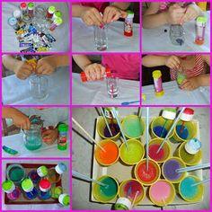 Bimbi felici a casa!: Dipingere con l'aria: bolle colorate, cannucce e pluriball