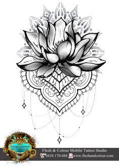 LOTUS AND LACE WITH MANDALA TATTOO DESIGN BY RHIANNON POPOVIC VISIT: www.fleshandcolour.com