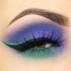 purple + green two-tone colorful eye makeup @giuliannaa