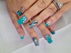 Abstract turquoise art by Melinailfreak from Nail Art Gallery