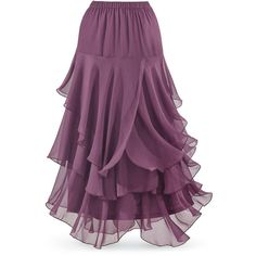 Orchid Handkerchief Maxi Skirt ❤ liked on Polyvore featuring skirts, floor length skirt, maxi skirt, long gothic skirts, dressy skirts and gothic skirt