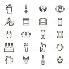 Beer Alcohol Drink Thin Line Icon Set. Vector royalty-free beer alcohol drink thin line icon set vector stock vector art & more images of line art