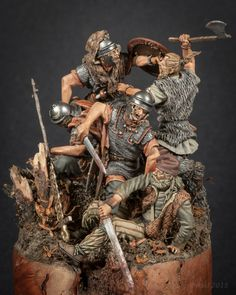 Teutoburg - Greg Cihlar From the Chicago show. Military Miniature Society of Illinois Roman Soldiers, Toy Soldiers, Rome History, Roman Warriors, Roman Legion, Art Of Fighting, Greek Warrior, Military Diorama, Military Figures