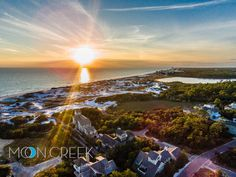 Spectacular Aerial View of WaterSound Beach Resort at  Sunset on Florida's #30A